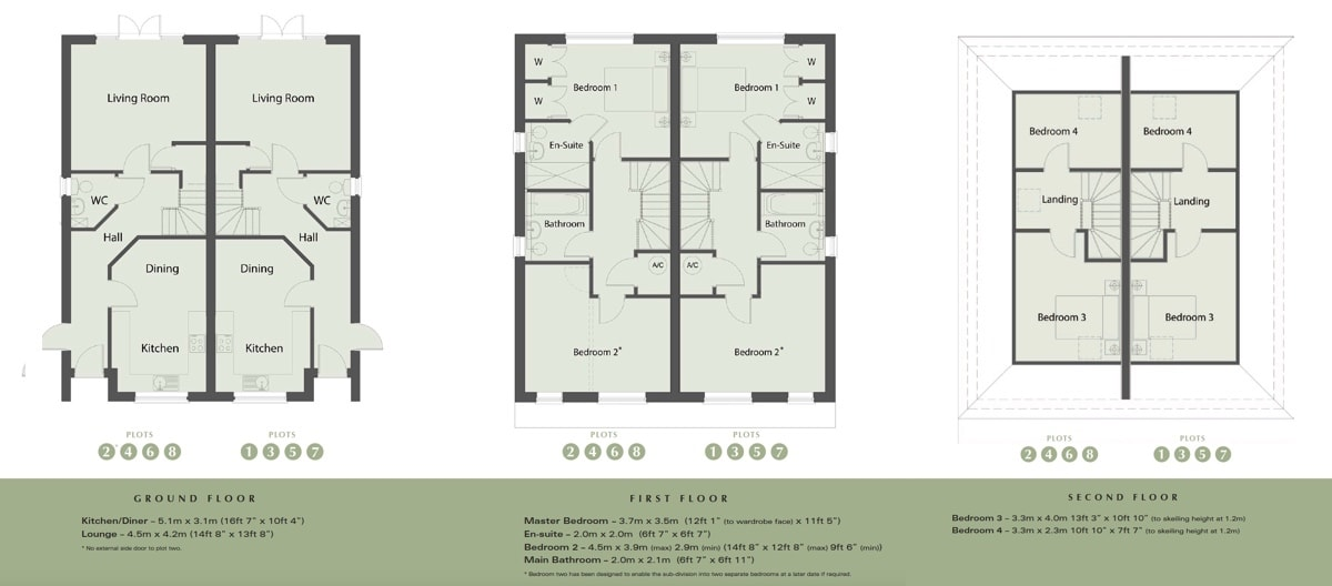 Floor plans for new 2 bed homes in Oakwood Close in Ewell Surrey