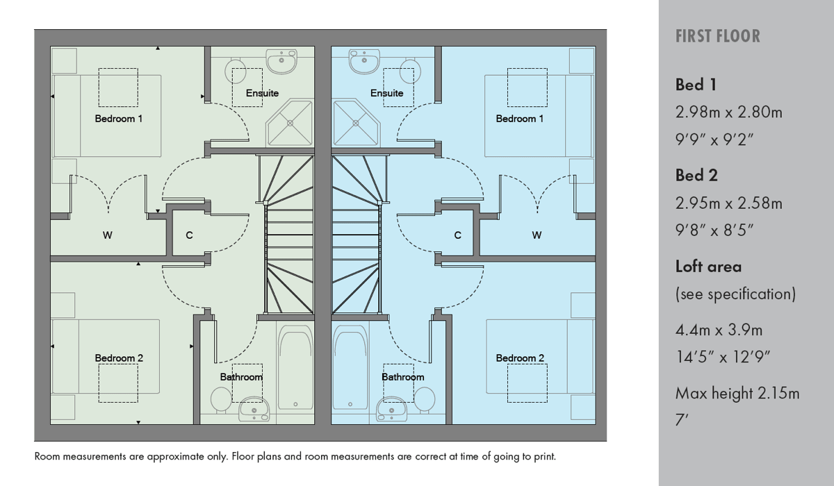 First floor laout plan of new 2 bed home in Osborn Close in Epsom Surrey