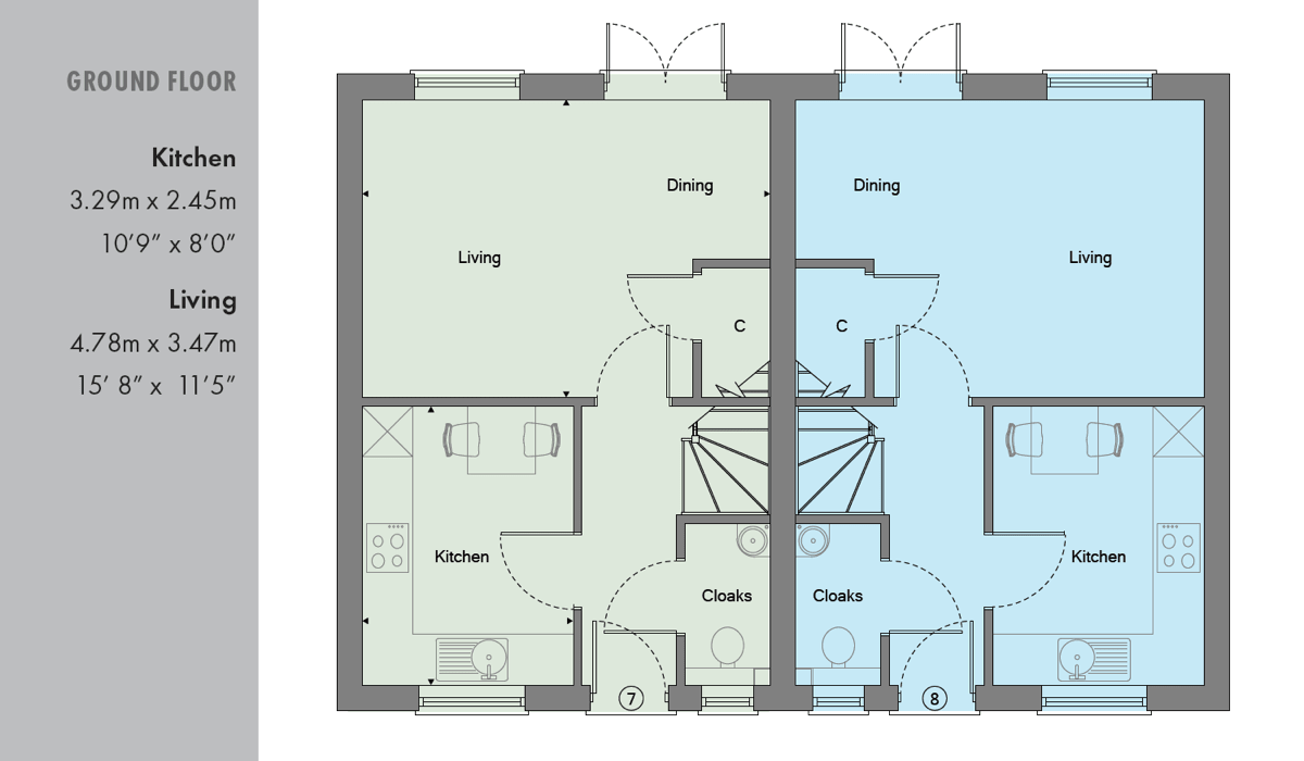 Ground floor plan of new 2 bed home in Osborn Close in Epsom Surrey