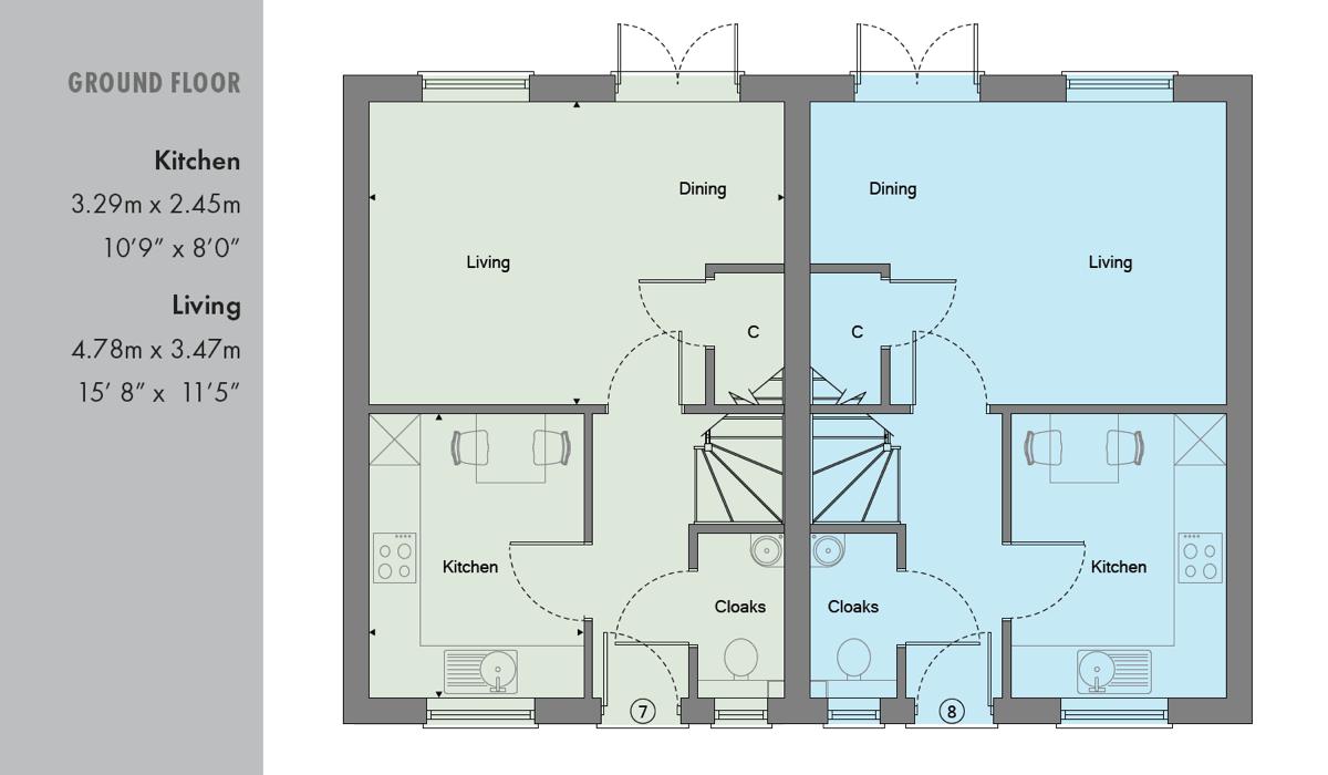Ground floor plan of new 2 bed home in Osborn Close in Epsom Surrey