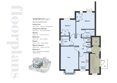 Elizabeth Place floor plan number 1 for new flats for sale in Surrey in Epsom