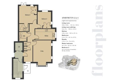 Elizabeth Place floor plan number 2 for new flats for sale in Surrey in Epsom