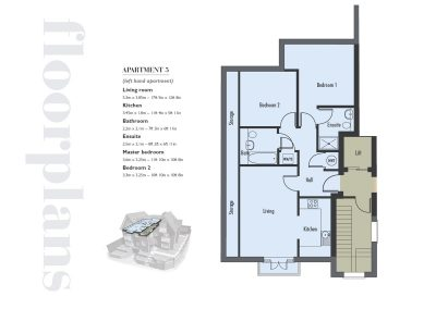 Elizabeth Place floor plan number 3 for new flats for sale in Surrey in Epsom