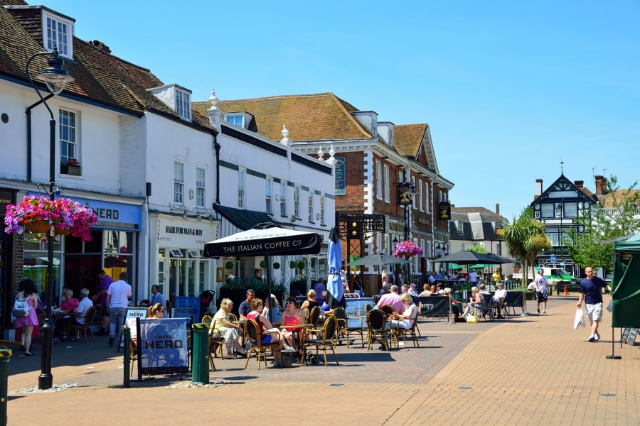 Epsom Town, only 10 minutes from our new build houses in Ashtead near Epsom in Surrey