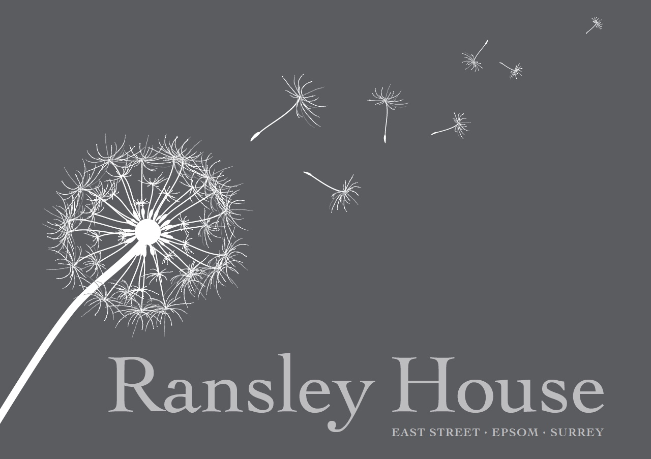 Front cover of teh Ransley House Brochure a grey background with a dandalion and its seeds blowing accross the page
